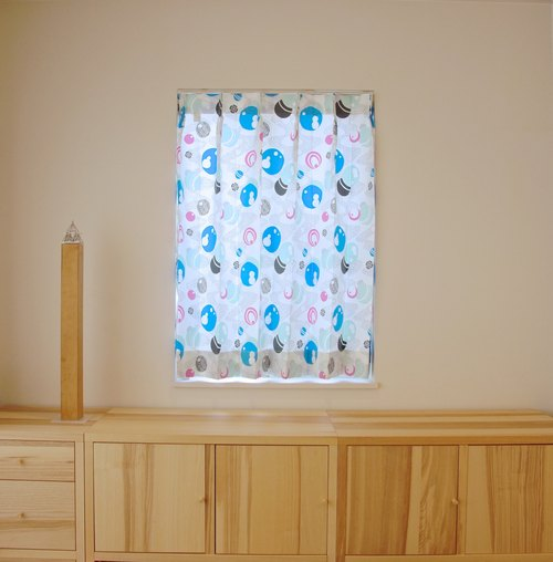 """MoRi MoRi"" Custom made curtains [ ""Mizutama"": Blue & Pink ] W 96cm-190cm / L 121cm-210cm"