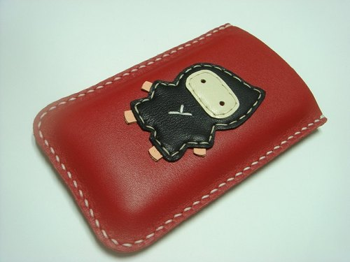{Leatherprince 手工皮革} 台湾MIT 红色 可爱 忍者 iPhone 纯手工牛皮保护套 / Taka the Ninja iPhone leather case ( Red )