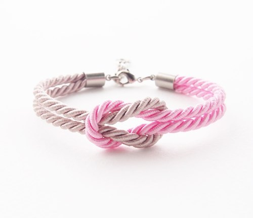 Light brown and pink nautical bracelet