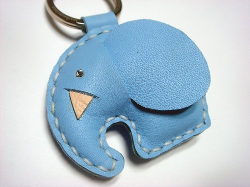 {Leatherprince 手工皮革} 台湾MIT 蓝色 可爱 大象 纯手工缝制 皮革 钥匙圈 / New Laura the Elephant Leather Keychain ( Light Blue )