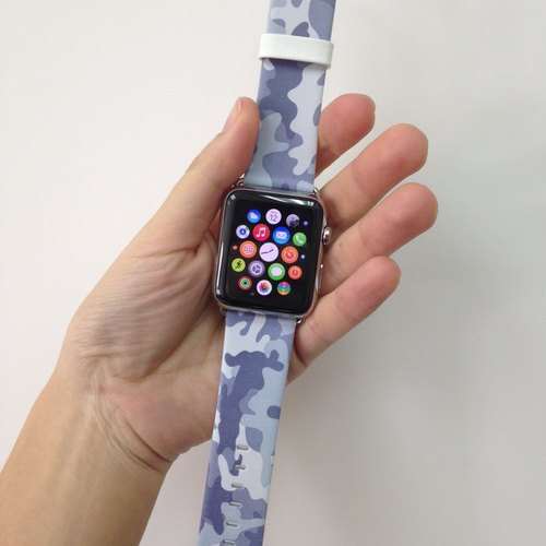 Apple Watch Series 1 , Series 2, Series 3 - Apple Watch 真皮手表带,适用于Apple Watch 及 Apple Watch Sport - Freshion 香港原创设计师品牌 - 银灰迷彩图案 12