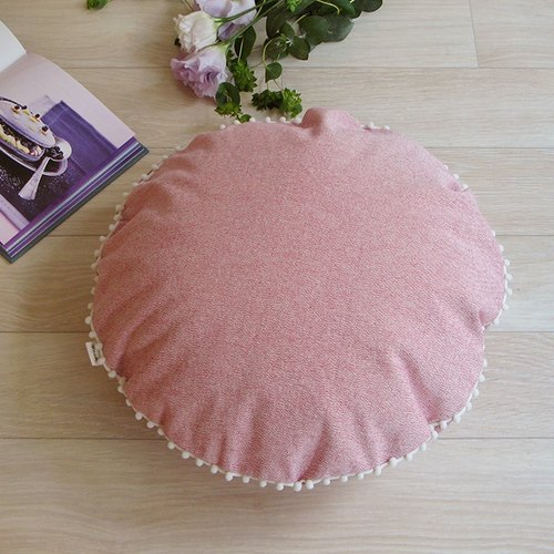 [Cover only] canvas plain cushion cover pompon R