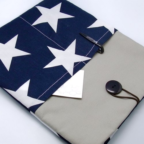 iPad Air sleeve, iPad Case iPad Cover, Samsung galaxy tab 3 10.1 with 2 pockets 自家制平板电脑袋,布套 ,笔布包 (可量身订制) - 星星 (54)