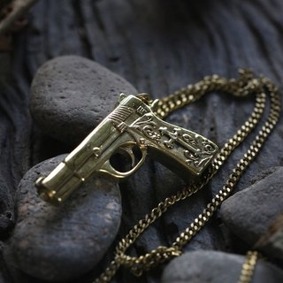 Pistol Gun - Graphic Handle Charm Necklace by Defy - Pendant Jewelry Accessories