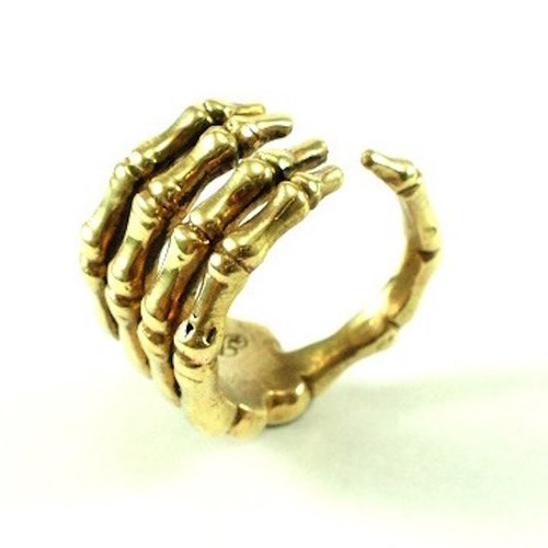 Hand bone ring in brass with oxidized antique color ,Rocker jewelry ,Skull jewelry,Biker jewelry