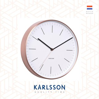 Karlsson wall clock Minimal white w.copper case(荷兰Karlsson铜框简约挂钟)