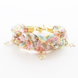 ♥ ELBRAZA ♥ Pastel braided bracelet with gold star.