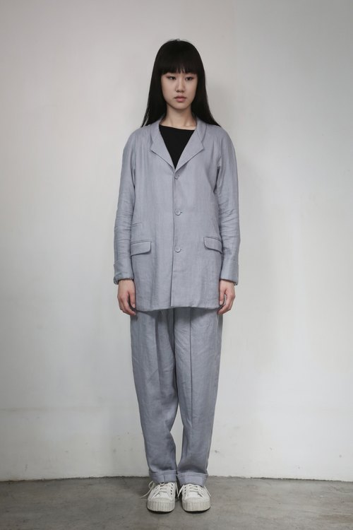 香港独立创作品牌 Numb Workshop 女装 Long Linen Jacket BLUE