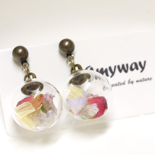 """爱家作- OMYWAY""DIY 干花  玻璃球 耳针 耳环 耳勾 垂挂 耳夹 Dried Flower - Glass Globe- Earrings- Drop Earrings - Drop Clip on Earrings - Clip Earrings"
