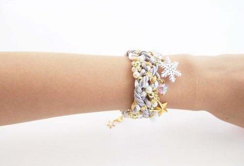 Snowflake silver and gold bracelet