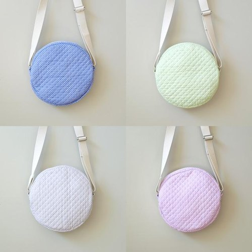 SALE Round shoulder bag marubag polka quilting