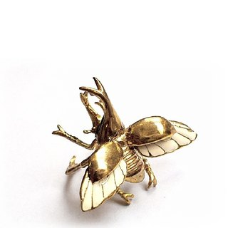 Rhino beetle ring in brass with enamel color
