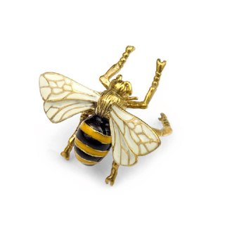 Flying Bee ring in brass with enamel  color
