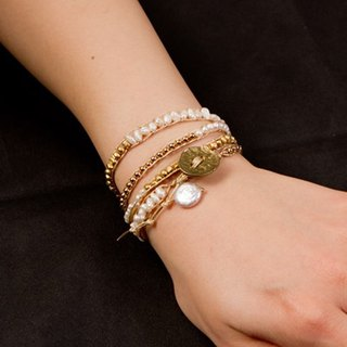 [Wrap Breath] freshwater pearl + gold color of stylish wrap bracelet / WrapBr01