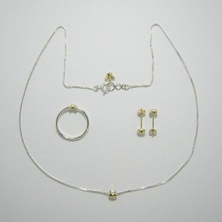 miaow icon 3-piece set K18 gold and sterling silver ( cat ring earrings necklace K18 gold silver set 貓 猫 金 銀 指杯 颈链 穿孔耳环 )