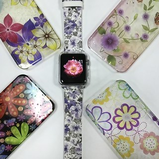 Apple Watch Series 1 , Series 2, Series 3 - Apple Watch 真皮手表带,适用于Apple Watch 及 Apple Watch Sport - Freshion 香港原创设计师品牌 - 紫色碎花花纹 cr10