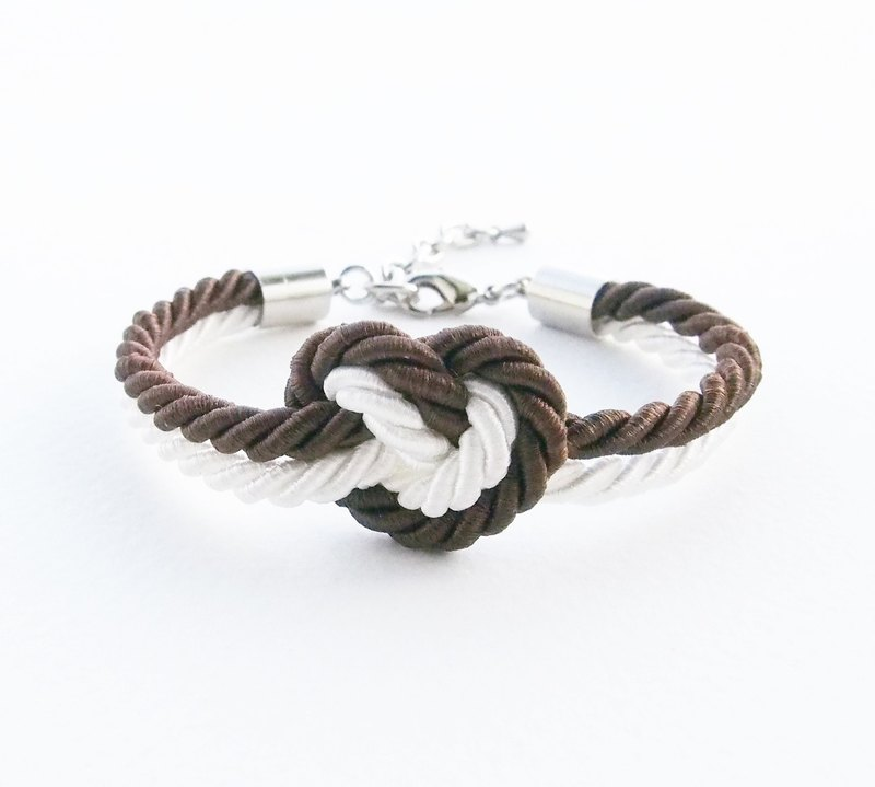 Dark brown / white heart knot