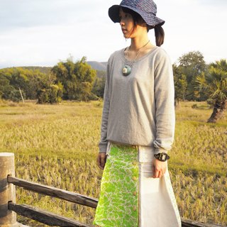 "EARTH.er  │""Leafs Camo""天然植物染长裙 ● Natural ""Leafs Camo"" Swedish Long Skirt│ :: 香港原创设计品牌 ::"