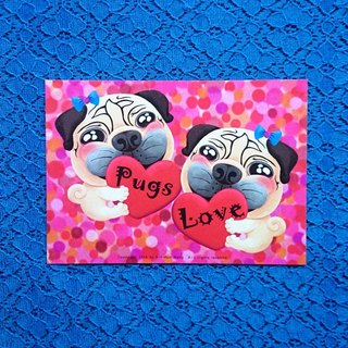 My Heart Belongs to Pugs 巴哥明信片