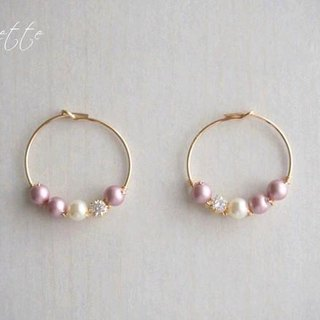 【14kgf】 Swarovski Pearl Hoop Earrings Rose