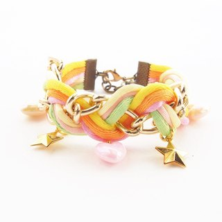 ♥ ELBRAZA ♥ Colorful briaded bracelet with heart and star cham.