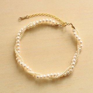 Bracelet freshwater pearl + 14KGF large and small pearl twist beautiful bracelet / GraceR01