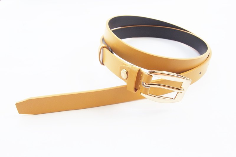 Caramel yellow genuine leather belt with gold buckle - woman belt