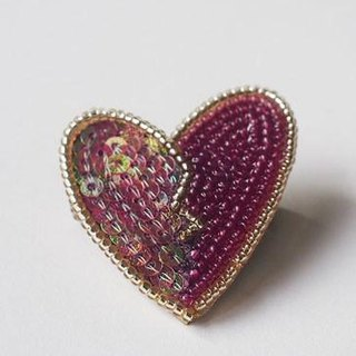 heart brooch purple