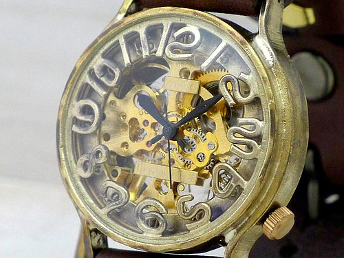 Handmade watch HandCraftWatch hand-rolled Brass JUMBO [BHW060] GD / BR