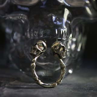 Two Human Skulls Ring by Defy - Cool Statement Ring - Original Handmade Jewelry