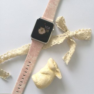 Apple Watch Series 1 , Series 2, Series 3 - Apple Watch 真皮手表带,适用于Apple Watch 及 Apple Watch Sport - Freshion 香港原创设计师品牌 - 粉红花样图纹 71