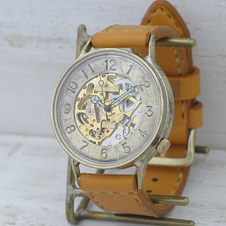 Handmade watch HandCraftWatch self-winding Brass GD / khaki hand-sewn [BAM041]