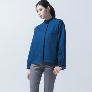 松紧袖口宽版衬衫 Denim Oversized Shirt with Stretch Cuffs