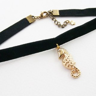 Allaah Black velvet choker / necklace with seahorse charm.
