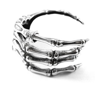 Hand bone bangle in white bronze ,Rocker jewelry ,Skull jewelry,Biker jewelry