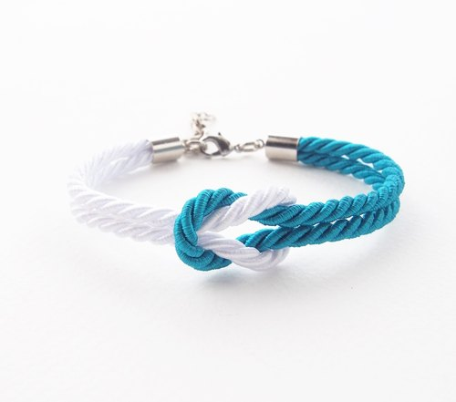White and Peacock blue rope knot bracelet