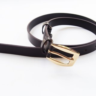 Brown-black genuine leather woman belt with gold buckle, cut to size, woman leather belt, black belt, black leather belt.