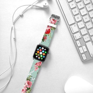 Apple Watch Series 1 , Series 2, Series 3 - Apple Watch 真皮手表带,适用于Apple Watch 及 Apple Watch Sport - Freshion 香港原创设计师品牌 - 怀旧青绿玫瑰花纹 cr8