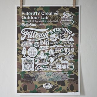Filter017 FCL OUTDOOR LAB Screen Printing Poster 限量手工网版画作 迷彩经典版