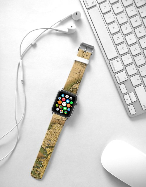 Apple Watch Series 1 , Series 2, Series 3 - Apple Watch 真皮手表带,适用于Apple Watch 及 Apple Watch Sport - Freshion 香港原创设计师品牌 - 怀旧地图图案