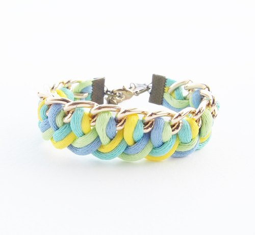 Blue / mint / yellow / lime side the chain.