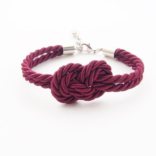 Crimson red infinity rope bracelet