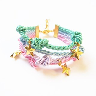 Pastel handmade rope bracelet with gold star charm