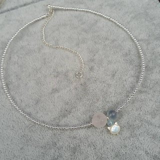 pink quartz, flourite, aquamarine and mother pearl 925 silver necklace 雕花粉晶, 蓝萤石, 小海蓝宝配贝母猫头925纯银 项链
