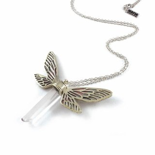 White bronze Dragonfly wing pendant with clear raw quartz stone and enamel color