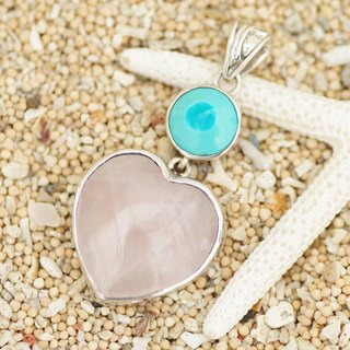 Heart of rose quartz and turquoise pendant