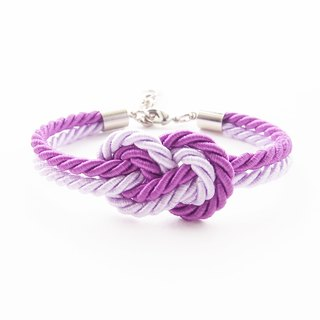Purple and Lilac infinity knot rope bracelet.