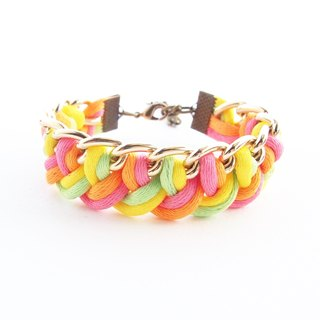 Oange / pink / yellow / lime side the chain.