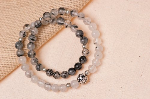 【Woody'sHandmade】招财。貔貅银珠,黑发晶手串。Prosperity – Silver pí xiū bead with Black Rutilated quartz