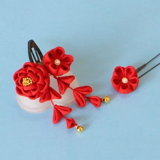 Pure silk camellia hair decoration mini red U pin flower with one wheel